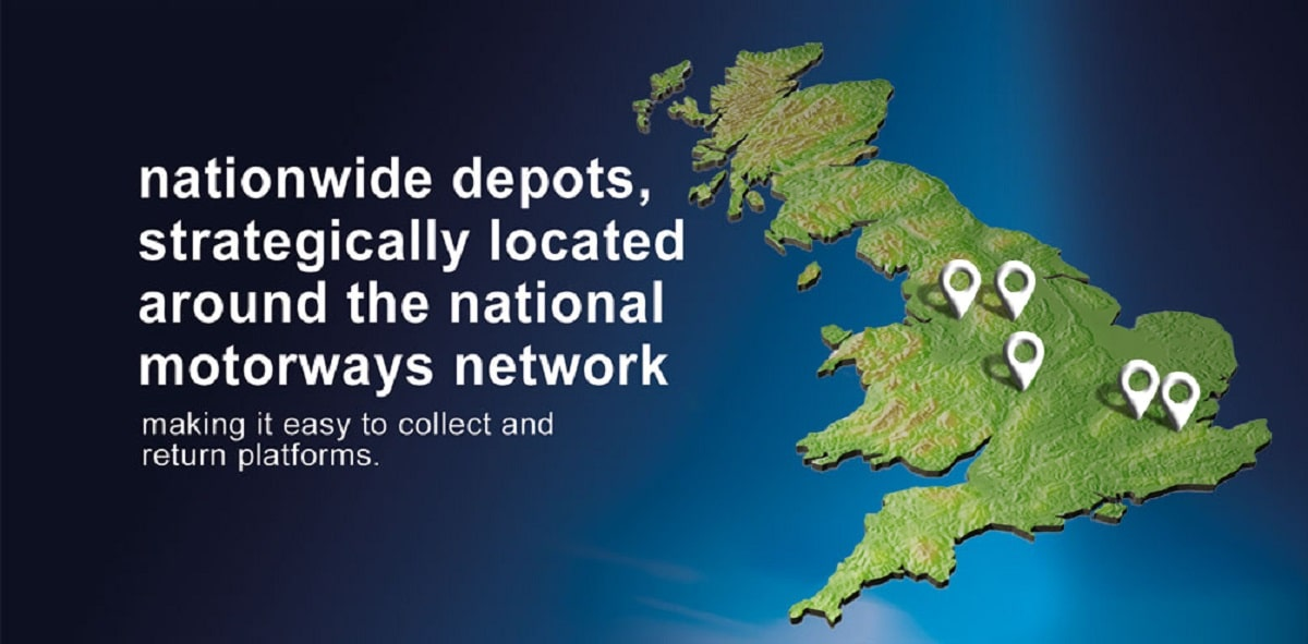 Smart platforms UK wide hire locations map, Birmingham, London, Manchester and Sheffield